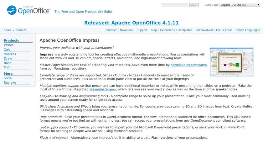Apache OpenOffice Impress Landing Page
