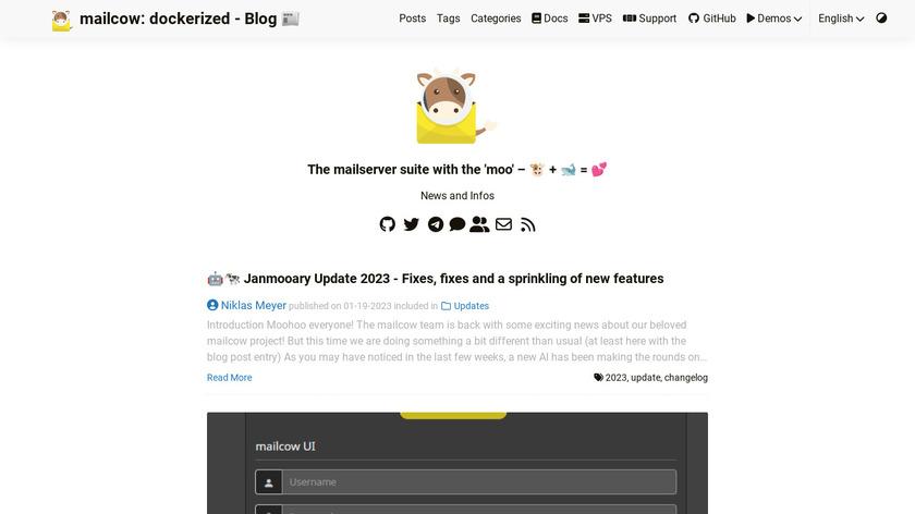 mailcow dockerized Landing Page