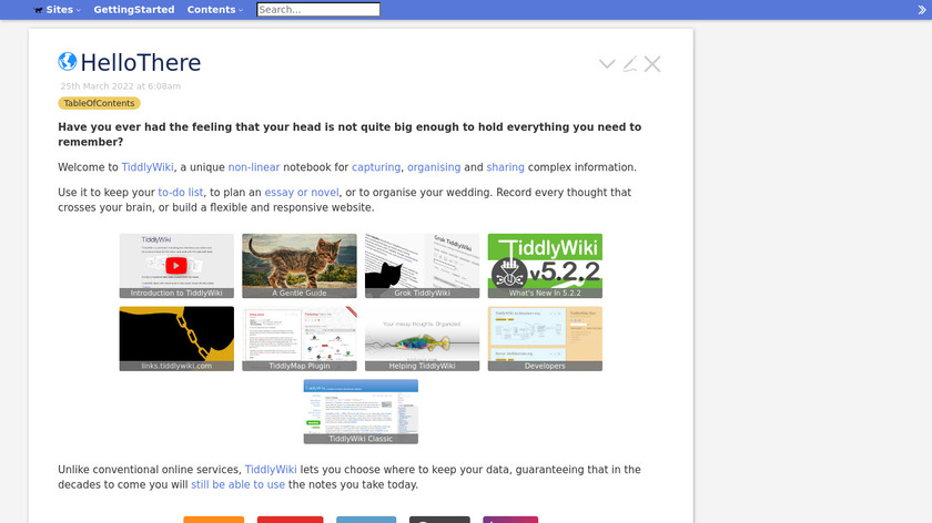 TiddlyWiki Landing Page