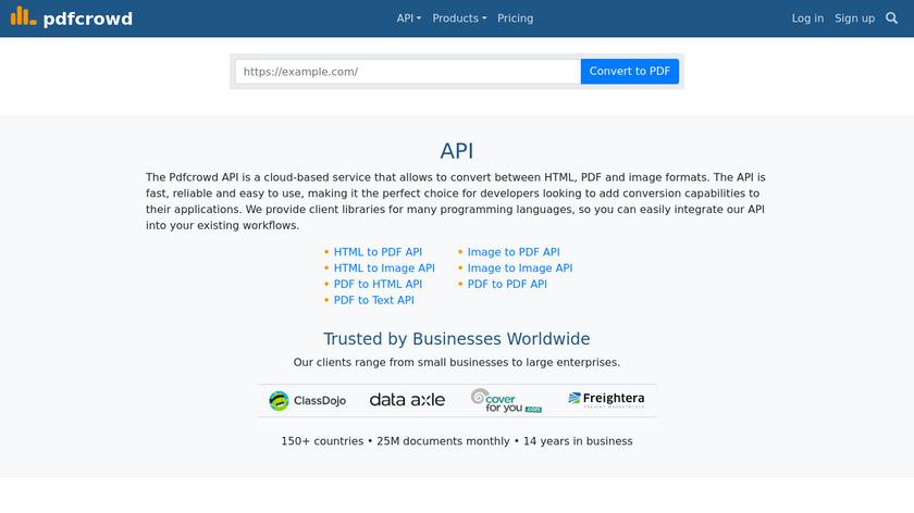 PDFCrowd Landing Page