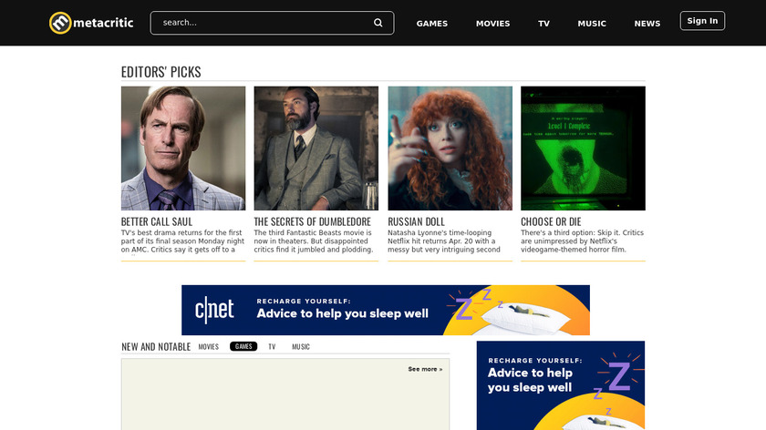 Metacritic Landing Page