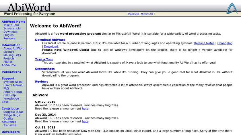 AbiWord Landing Page