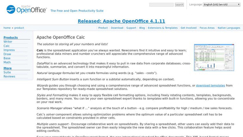 Apache OpenOffice Calc Landing Page