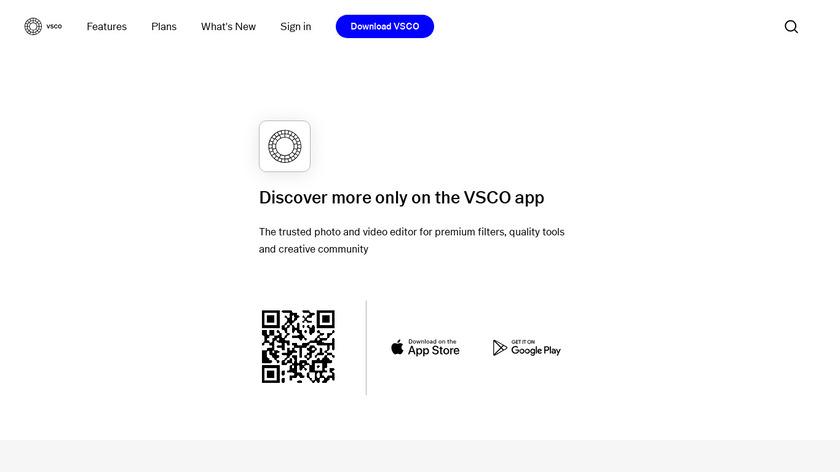 VSCO Cam Landing Page
