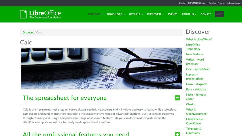 LibreOffice - Calc Landing Page