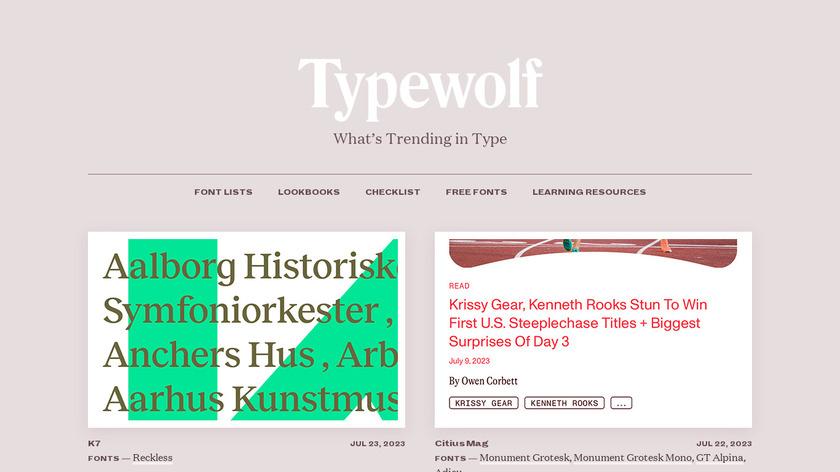 Typewolf Landing Page