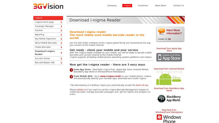 i-nigma Reader Landing Page