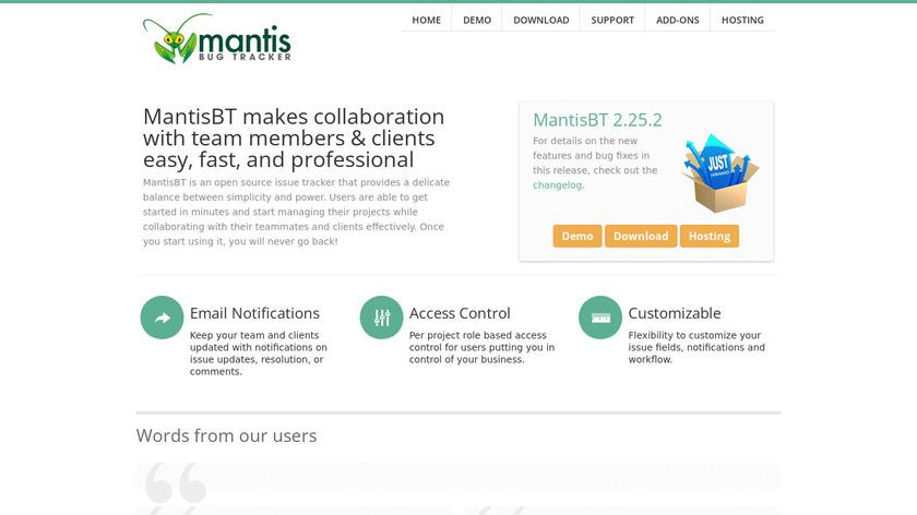 Mantis Bug Tracker Landing Page