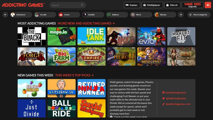 Addicting Games Landing Page