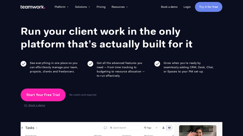 Teamwork Projects Landing Page