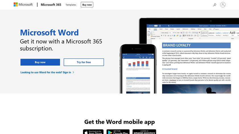 Microsoft Word Landing Page