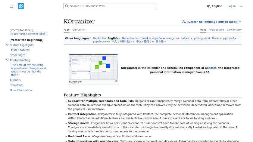 Kontact - KOrganizer Landing Page