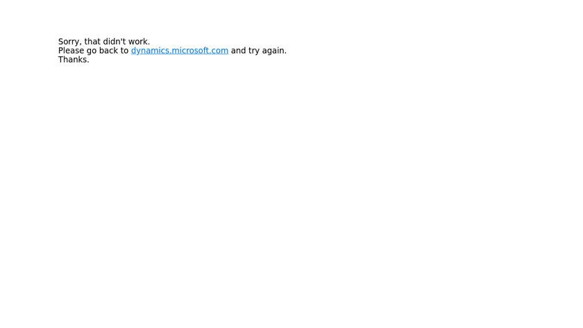 Microsoft Dynamics Landing Page