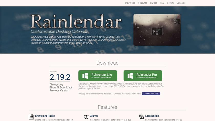 Rainlendar Landing Page