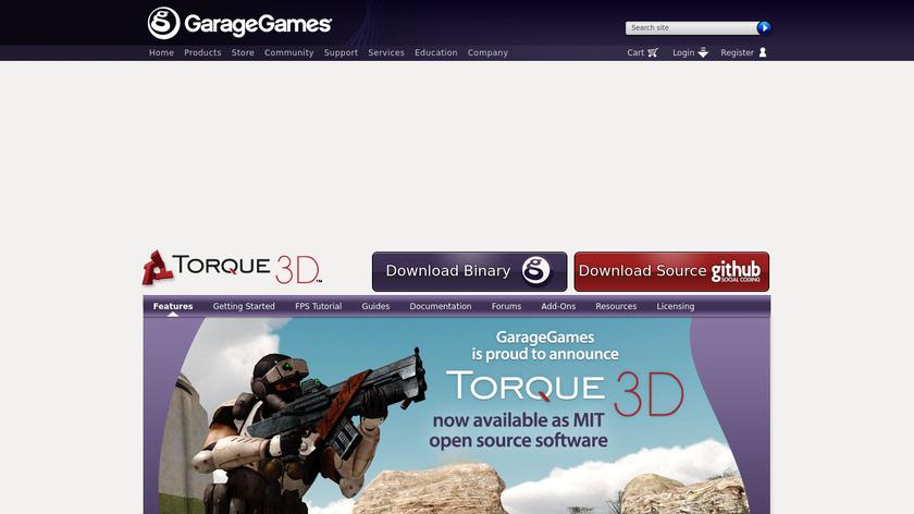 Torque 3D Landing Page