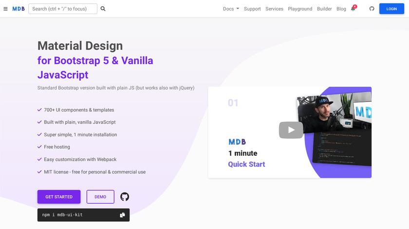 Material Design for Bootstrap Landing Page