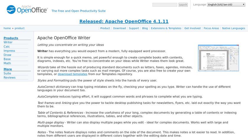 Apache OpenOffice Writer Landing Page