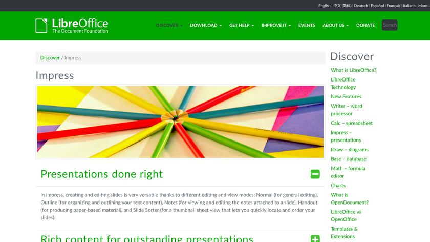 LibreOffice - Impress Landing Page