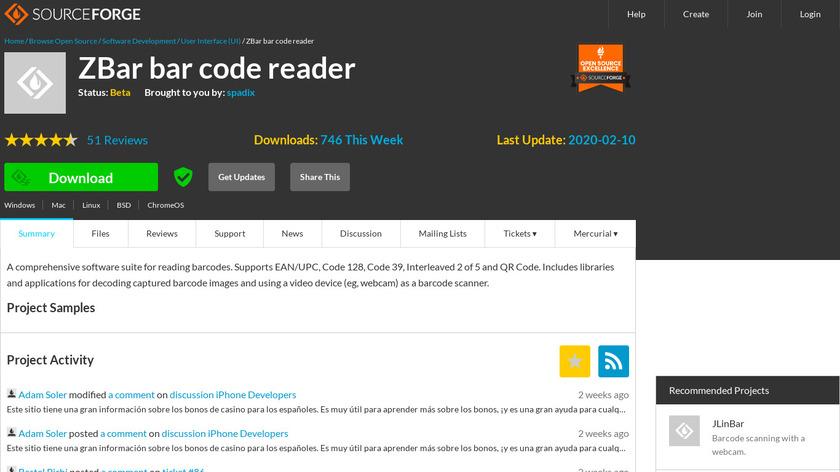 ZBar bar code reader Landing Page