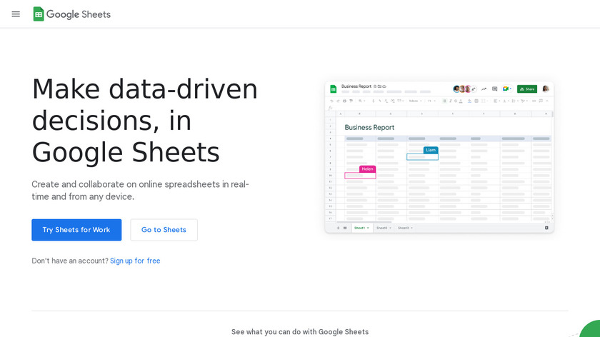 Google Sheets Landing Page