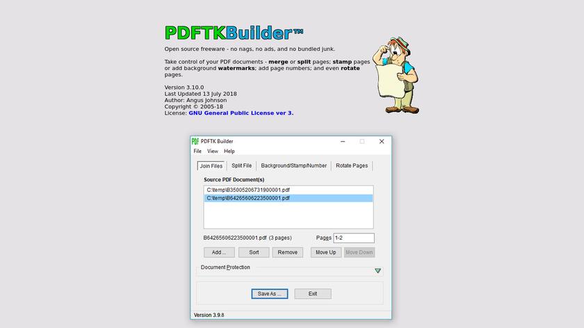 PDFTK Builder Landing Page