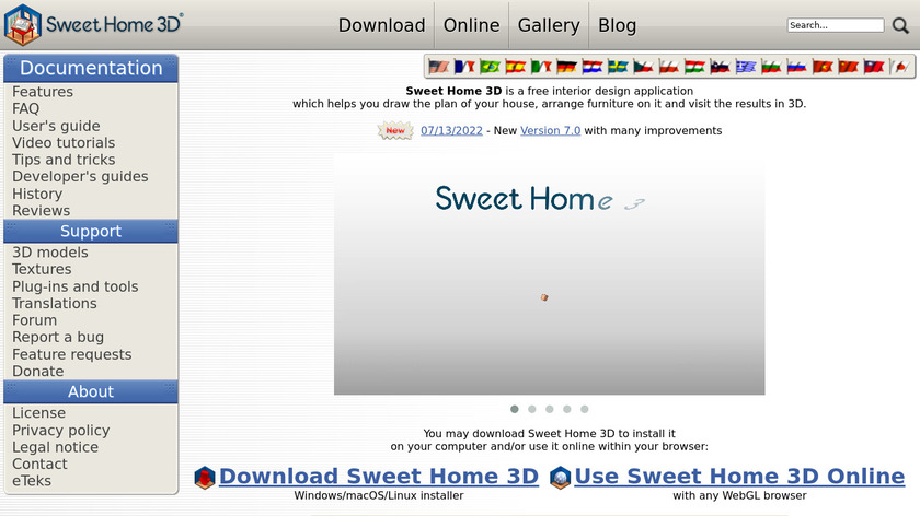 Sweet Home 3D Landing Page