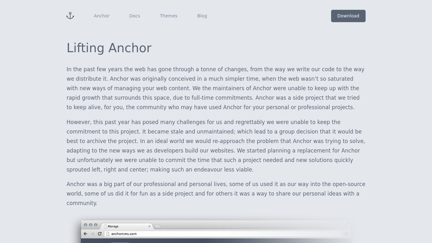 Anchor CMS Landing Page