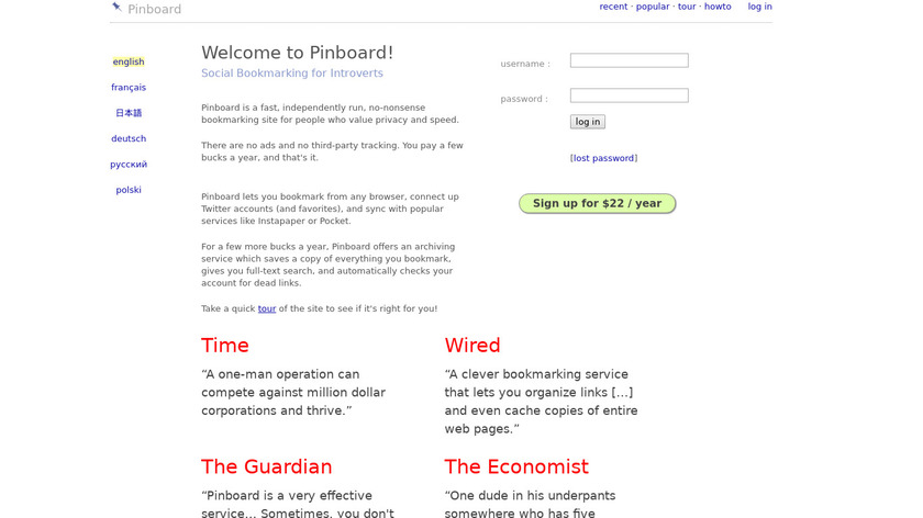 Pinboard Landing Page