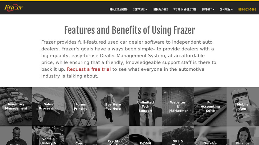 Frazer Auto Dealer Software Landing Page