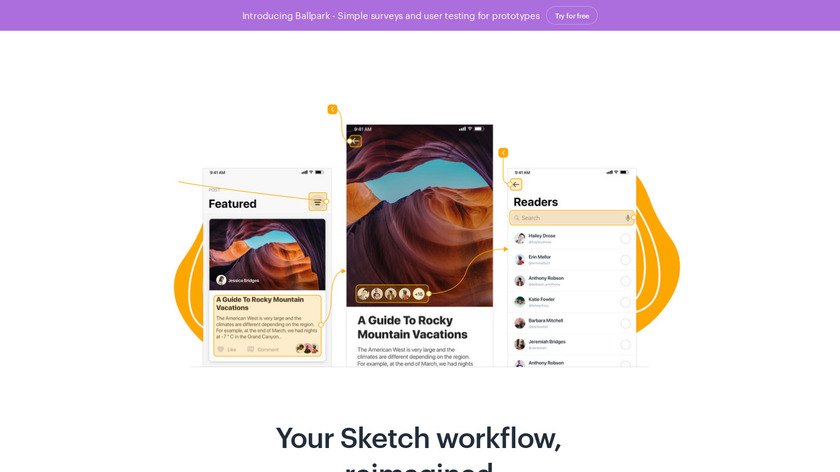 Marvel for Sketch Landing Page