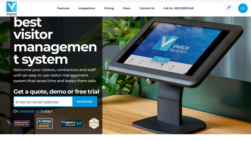 VisitUs Reception Landing Page