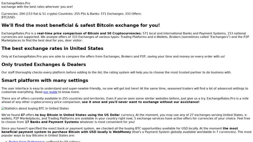 ExchangeRates.Pro Landing Page