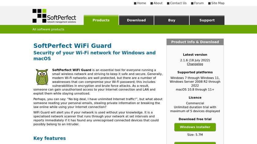 SoftPerfect WiFi Guard Landing Page