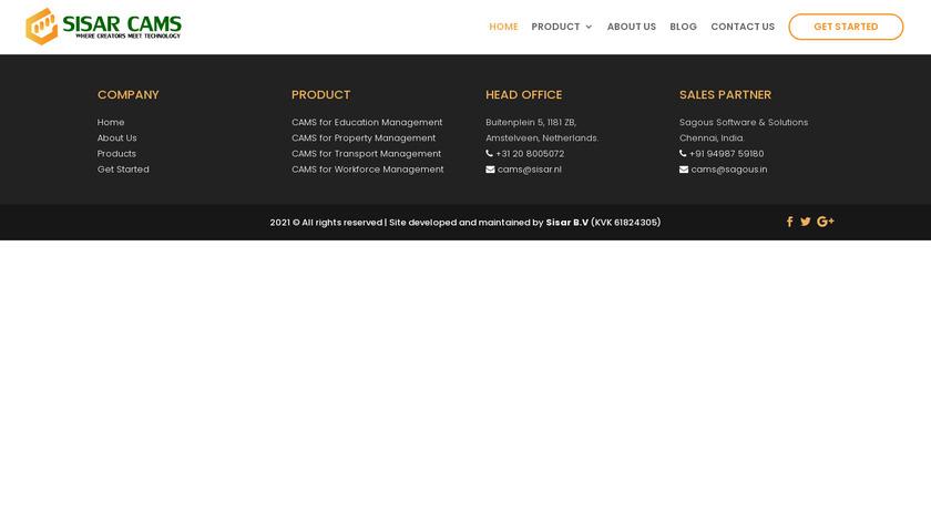 SISAR CAMS Landing Page