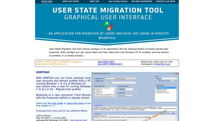 USMTGUI Landing Page