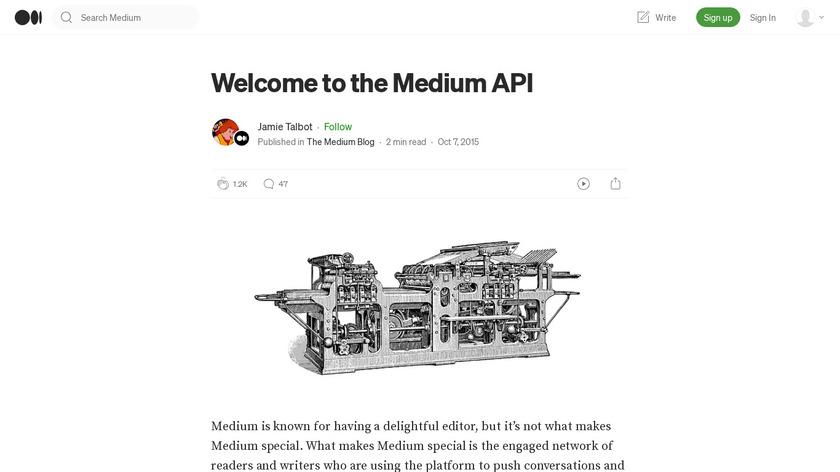 Medium API Landing Page