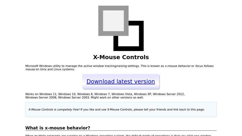 X-Mouse Controls Landing Page