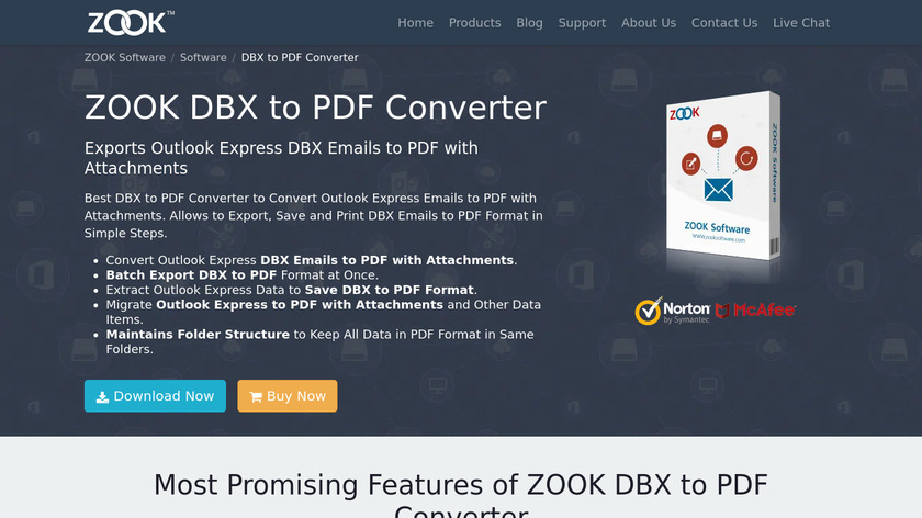 ZOOK DBX to PDF Converter Landing Page