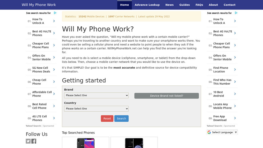 Will my phone work Landing Page