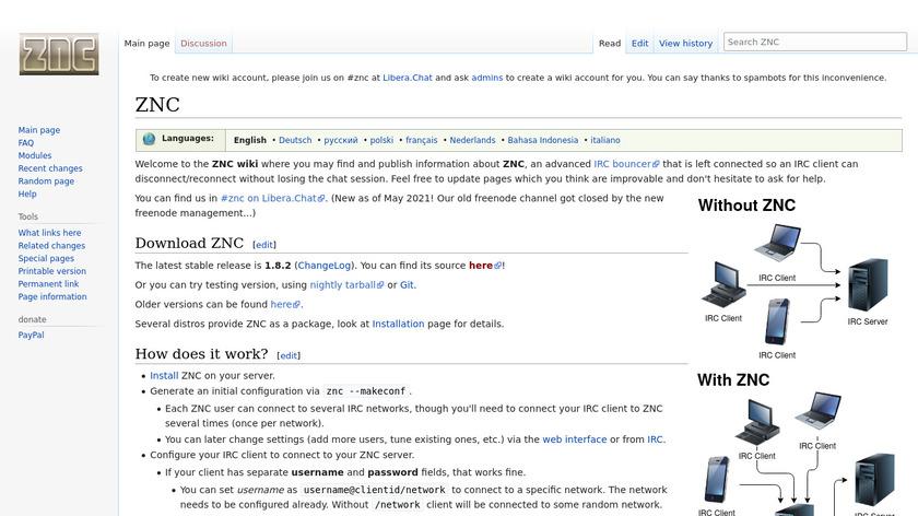 ZNC Landing Page