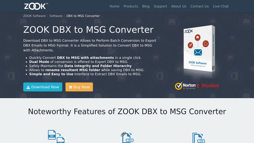 ZOOK DBX to MSG Converter Landing Page