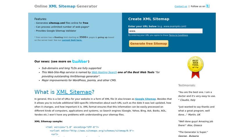 Web-Site-Map.com - XML Sitemap Generator Landing Page