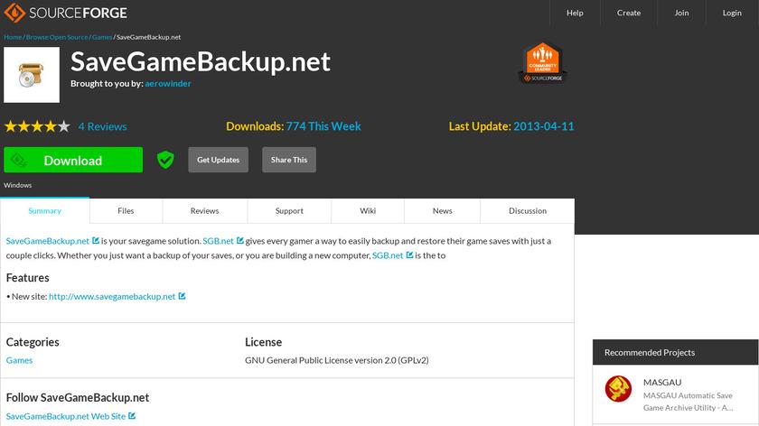 SaveGameBackup.net Landing Page