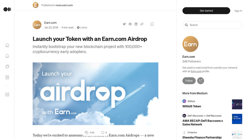 Airdrop by Earn.com Landing Page