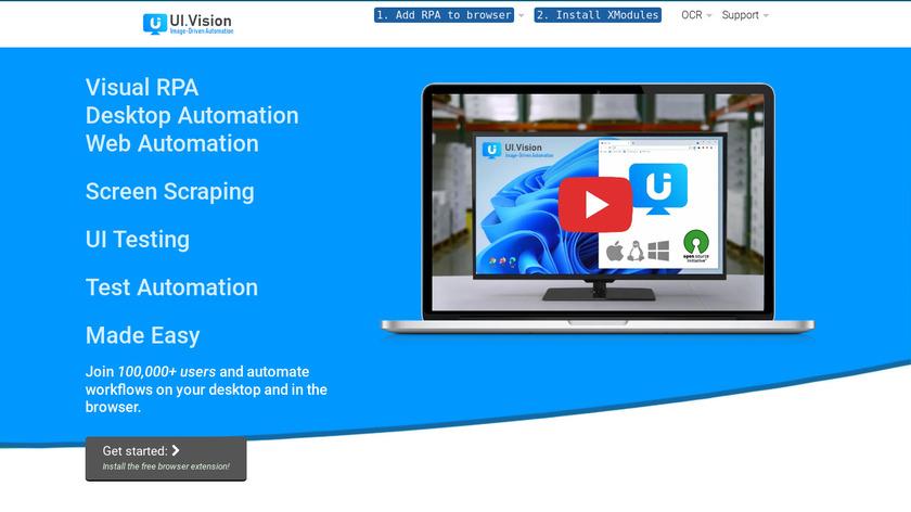 UI.Vision Kantu Landing Page