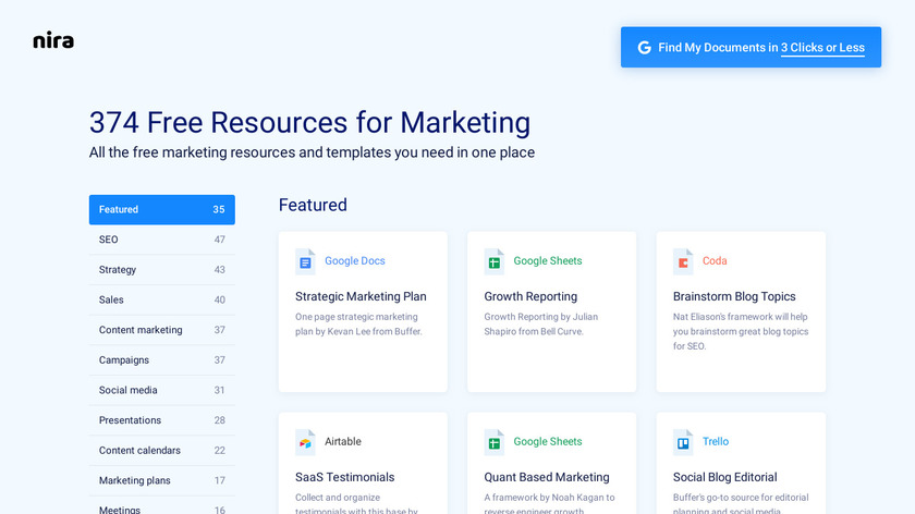 Marketing Resources List Landing Page