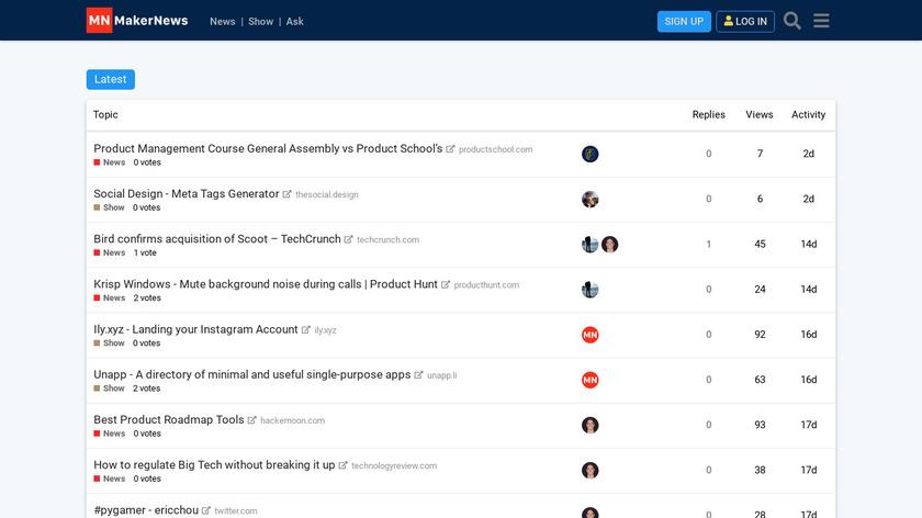 MakerNews.io Landing Page