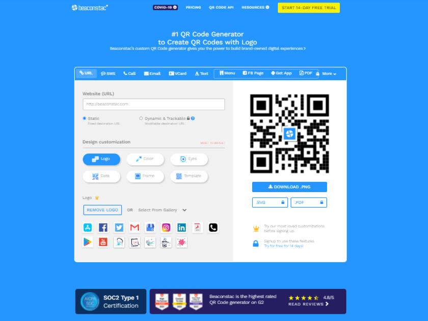 Beaconstac SMART QR Code Platform Landing Page