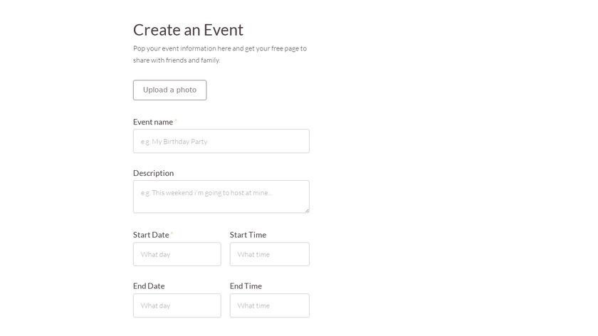 EventsApp Landing Page