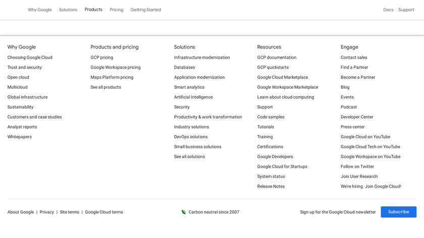 Google Cloud IoT Core Landing Page